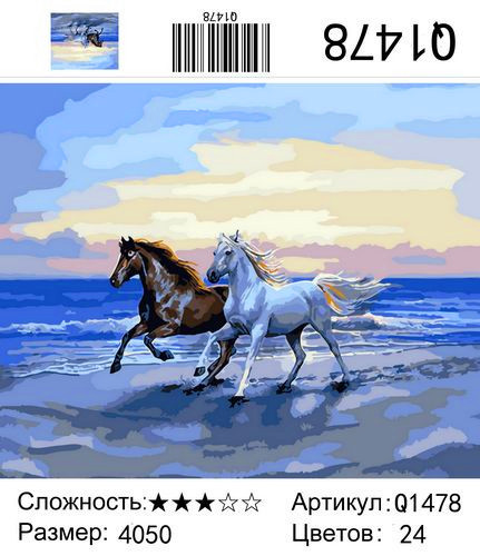 "РН Q1478 ""Пара коней скачет по прибою"", 40х50 см"