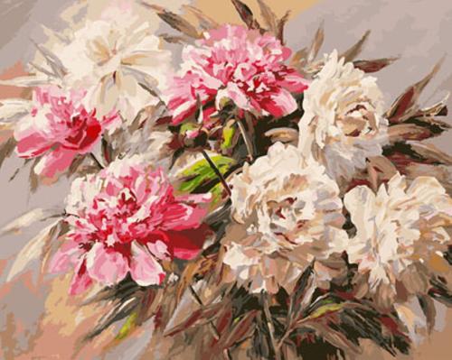 """РН GX23568 """"Белые и розовые пионы"""", 40х50 см"""