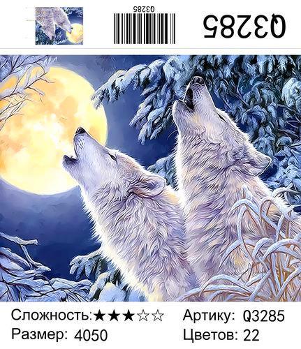 """РН Q3285 """"Два волка воют на луну"""", 40х50 см"""