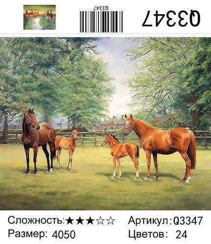 """РН Q3347 """"Две пары лошадей"""", 40х50 см"""