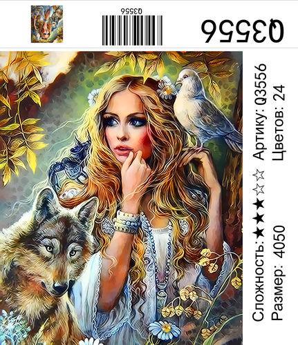 "РН Q3556 ""Девушка, волк, голубь"", 40х50 см"