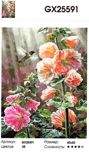 """РН GX25591 """"Большие цветы, колибри"""", 40х50 см"""