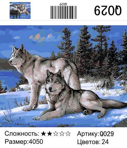 """РН Q029 """"Два волка зимой"""", 40х50 см"""