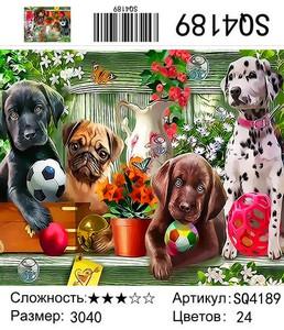 "РЗ SQ4189 ""Щенки с мячиками"", 30х40 см"