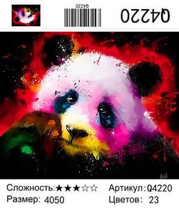 """РН Q4220 """"Панда на черном фоне"""", 40х50 см"""