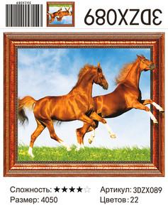 "АМ3D 089 ""Пара коричневых лошадей"", 40х50"