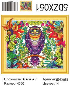 """5DZX051 """"Цветная сова"""", 40х50 см"""