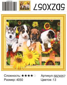 """5DZX057 """"Четыре щенка"""", 40х50 см"""