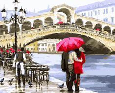 """РН GX26060 """"Пара под зонтом смотрит на мост"""", 40х50 см"""