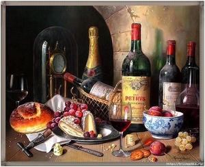 """РН GX21670 """"Вино, часы"""", 40х50 см"""