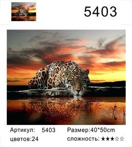 """РД 5403 """"Леопард лакает воду на закате"""", 40х50 см"""