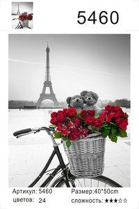 "РД 5460 ""Велосипед с цветами на фоне Эйфеля"", 40х50 см"
