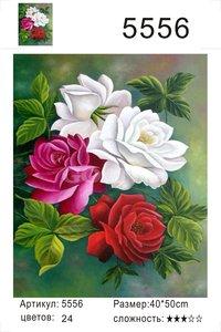 """РД 5556 """"Розы с зелеными листьями"""", 40х50 см"""