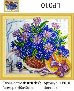 """5DLP010 """"Цветы и шляпка"""", 40х50 см"""