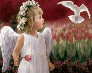 """ВК1924 """"Ангел и голубь"""" 39х48 см"""