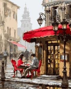 "ВК2264 ""Пара у кафе на красных стульях"" 39х48 см"