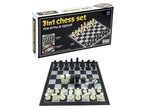 Шахматы магнитные 3 в 1, 24х24 см.