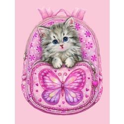 """РЗ ЕХ5197 """"Котенок в розовом рюкзаке"""", 30х40 см"""