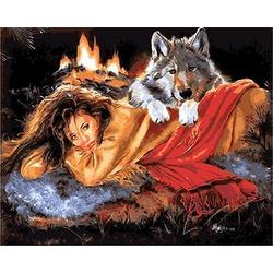 """РН GX9032 """"Девушка с собакой у костра"""", 40х50 см"""