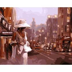 """РН GX9123 """"Дама в белом с белой сумочкой"""", 40х50 см"""