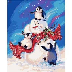 "РН GХ3402 ""Снеговик и пингвины"", 40х50 см"
