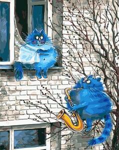 """РН GХ3889 """"Синий кот играет на саксофоне"""" , 40х50 см"""