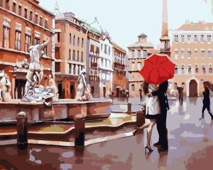 "РН GХ4107 ""Пара под красным зонтом на площади"" , 40х50 см"