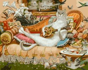 """РН GХ4453 """"Белый кот играет на гитаре"""" , 40х50 см"""