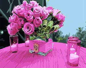 """РН GХ4572 """"Розы в квадратной вазе и свечи"""" , 40х50 см"""