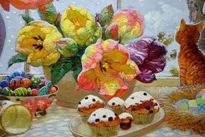 """РН GХ5301 """"Цветы, кексы, котенок"""", 40х50 см"""