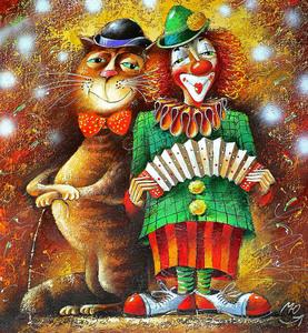 """РН GХ5413 """"Клоун с гармошкой и кот"""", 40х50 см"""