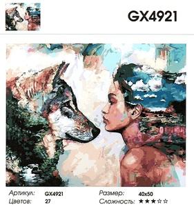 """РН GХ4921 """"Девушка смотрит на волка"""", 40х50 см"""