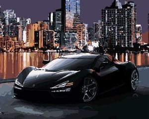 "АРМК34 ""Черное авто на фоне города"", 30х40 см"