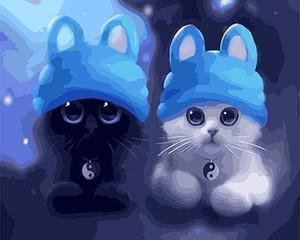 "АРМК45 11096 ""Два котенка в голубых шапках"" , 40х50 см"