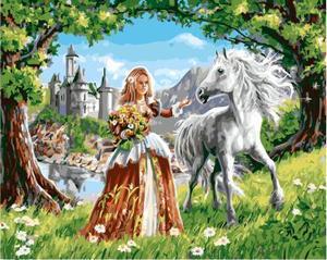 """РН GX5567 """"Девушка с цветами и белый конь"""", 40х50 см"""