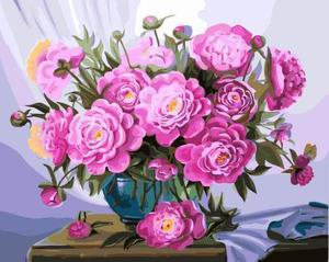 "РН GX5583 ""Розовые пионы в синей вазе"", 40х50 см"