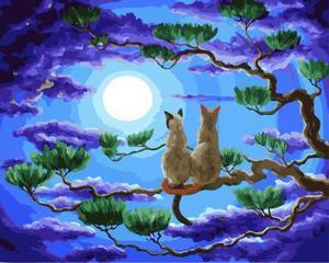 """РН GX5679 """"Два кота на ветке смотрят на луну"""", 40х50 см"""