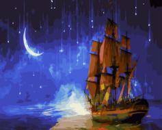 """РН GX21457 """"Бригантина на фоне звездного неба"""", 40х50 см"""