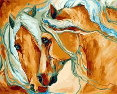 """РН GX21664 """"Рыжие лошади с голубыми гривами"""", 40х50 см"""
