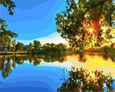 """РН GX21694 """"Отражение заката в озере"""", 40х50 см"""