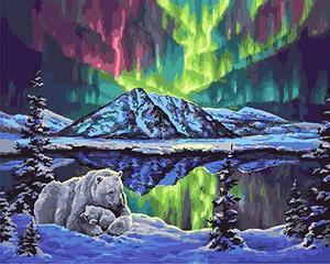 """РН GX21854 """"Белые медведи и северное сияние"""", 40х50 см"""