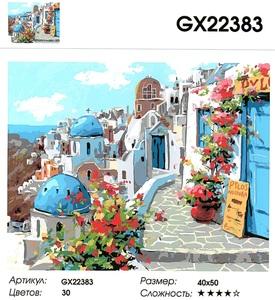 "РН GX22383 ""Бело-синие дома с цветами"", 40х50 см"