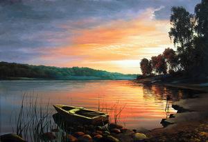 "РН GX22521 ""Лодка на вечерней реке"", 40х50 см"