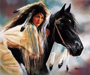 "РН GX22537 ""Индианка на вороном коне"", 40х50 см"