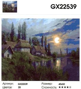 """РН GX22539 """"Деревенька в полнолунье"""", 40х50 см"""