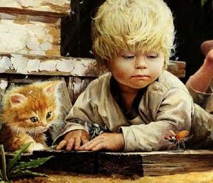 """РН GX22546 """"Мальчик лежит с котенком"""", 40х50 см"""
