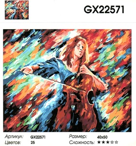 """РН GX22571 """"Девушка играет на виолончеле"""", 40х50 см"""