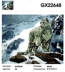 """РН GX 22648 """"Снежный барс в горах"""", 40х50 см"""