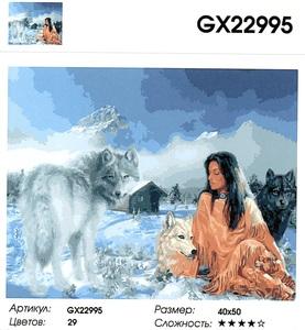 """РН GX22995 """"Девушка и волки на снегу"""", 40х50 см"""