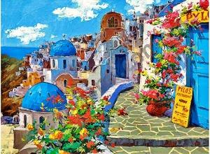 """АРМК """"Бело-синие дома с цветами"""", 40х50 см"""